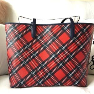 DRAPER JAMES PLAID TOTE EUC